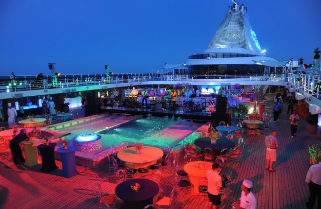 Deck Party during corporate ship charter